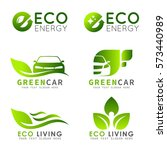 green eco logo with e letter  ... | Shutterstock .eps vector #573440989