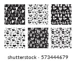 vector set of seamless hand... | Shutterstock .eps vector #573444679
