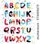 vector cartoon colored alphabet.... | Shutterstock .eps vector #573445675