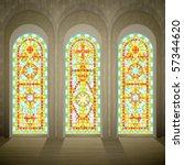 Church Wall With Three Tall...