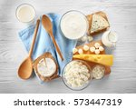 different types of dairy... | Shutterstock . vector #573447319