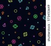 neon geometric shape seamless... | Shutterstock .eps vector #573453649