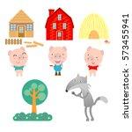three little pigs on white... | Shutterstock .eps vector #573455941