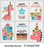 set of 6 cute creative cards... | Shutterstock . vector #573460789