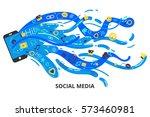 social media concept in modern...   Shutterstock .eps vector #573460981