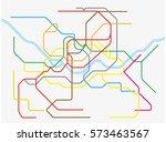 colorful seoul metropolitan... | Shutterstock .eps vector #573463567