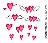 set of hand drawn hearts.... | Shutterstock .eps vector #573464491