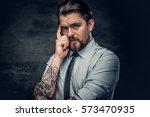 portrait of a stylish bearded... | Shutterstock . vector #573470935