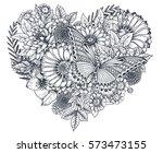 floral heart. bouquet... | Shutterstock .eps vector #573473155