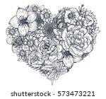 floral heart. bouquet... | Shutterstock .eps vector #573473221