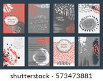 set of eight cards with hand... | Shutterstock .eps vector #573473881