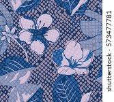 floral seamless pattern. snake...   Shutterstock .eps vector #573477781