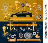 car assembly line auto conveyor ... | Shutterstock .eps vector #573478795