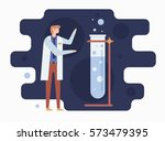 chemist and laboratory.... | Shutterstock .eps vector #573479395