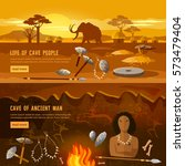 stone age banner. neanderthal... | Shutterstock .eps vector #573479404