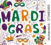 vector mardi gras background.... | Shutterstock .eps vector #573482005
