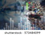 young woman trading stock... | Shutterstock . vector #573484099