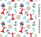 seamless sea pattern with... | Shutterstock .eps vector #573484171