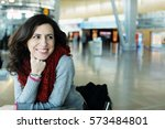 portrait of 40 years old woman  | Shutterstock . vector #573484801