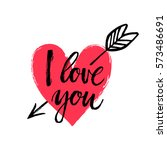 hand drawn heart with arrow.... | Shutterstock .eps vector #573486691