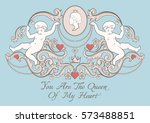 happy valentines day card in... | Shutterstock .eps vector #573488851