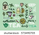hand drawn tea time collection. ... | Shutterstock .eps vector #573490705