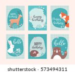 vector birthday greeting cards... | Shutterstock .eps vector #573494311