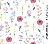floral pattern. cute spring... | Shutterstock .eps vector #573494611