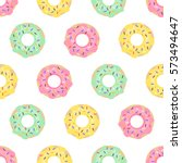 donuts seamless pattern on... | Shutterstock .eps vector #573494647