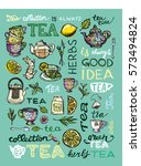 hand drawn tea time collection. ... | Shutterstock .eps vector #573494824