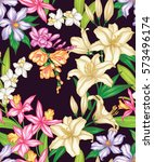 seamless exotic pattern with... | Shutterstock .eps vector #573496174