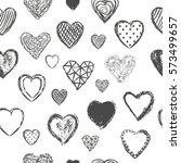 heart seamless pattern vector... | Shutterstock .eps vector #573499657