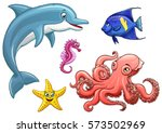 set cute marine animals... | Shutterstock .eps vector #573502969