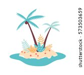 vector tropical island with... | Shutterstock .eps vector #573503659