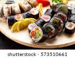 japanese cuisine. sushi set on... | Shutterstock . vector #573510661