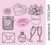 happy valentin's day hand drawn ... | Shutterstock .eps vector #573517669