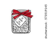 glass jar with words of love.... | Shutterstock .eps vector #573519145