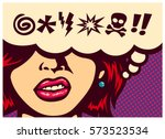 pop art style comics panel... | Shutterstock .eps vector #573523534