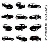 Stock vector collection of car vector silhouettes 573525241