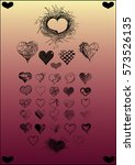 hand drawn vector heart... | Shutterstock .eps vector #573526135