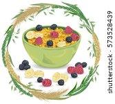 cereal porridge in bowl with... | Shutterstock .eps vector #573528439