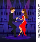 man and woman night out date ... | Shutterstock .eps vector #573532249