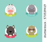 cute cartoon animals   Shutterstock .eps vector #573539419