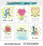 valentines day card set vector. ... | Shutterstock .eps vector #573542809