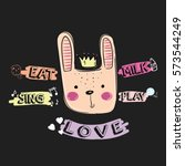 bunny illustration vector with...   Shutterstock .eps vector #573544249