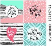 valentine lettering love... | Shutterstock .eps vector #573547411
