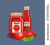 tomato sauce bottle. vector... | Shutterstock .eps vector #573547501