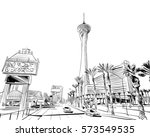 las vegas city hand drawn.usa.... | Shutterstock .eps vector #573549535