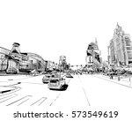 las vegas city hand drawn.usa.... | Shutterstock .eps vector #573549619
