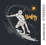 surfer and big wave. t shirt... | Shutterstock .eps vector #573553015